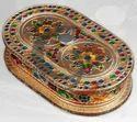 Diwali Wooden Meakari Dry Fruit Box, 1 Peace, Size/dimension: 8 Inchi Round