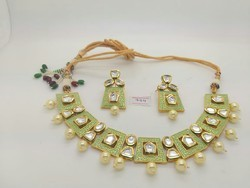 Kundan Light Green Stylish Necklace Set