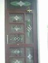Glass Work Wooden Door