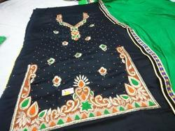 U Cut Embroidery Suit With Contrast Dupatta