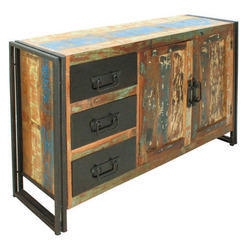Natural Home And Hotel And Restaurant Industrial Reclaimed Wood 3 Drawer Sideboard, Size: W160xd40xh90 Cm