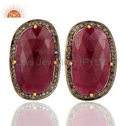 Natural Ruby Gemstone Diamond Stud Earrings Jewelry