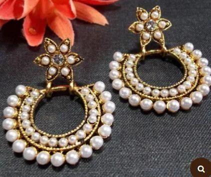 fc191f2b672 Flower Pearl Polki Earrings at Rs 299  pair