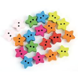 Multicolor Star Shaped Polyester Buttons