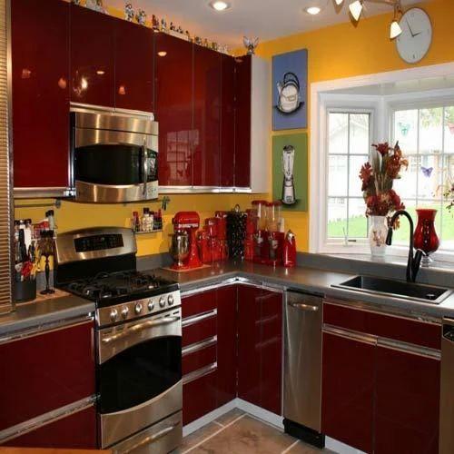 Glossy Maroon Kitchen