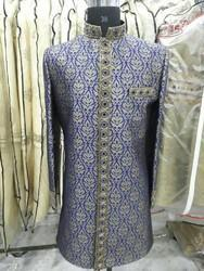 Navy Blue Embroidered Party Wear Sherwani
