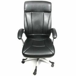Black High Back Silver Arrow, Modular Leather Office Chair