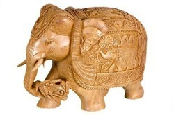 Antique Wooden Carving Elephant Statue