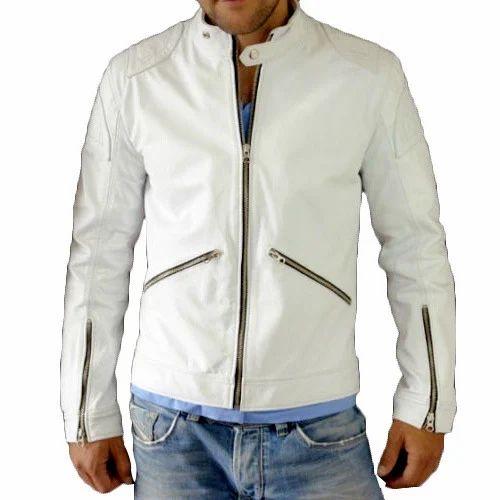 347738c62 Medium Mens White Leather Jacket, Rs 3200 /piece, Leather Shop India ...