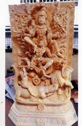 Wooden Statue Of Gajendra Moksham 27 Inch Ht