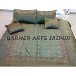 Silk Embroidery Sari Jaal Bed Cover