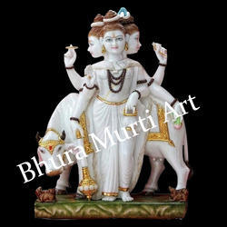 Painted Dattatreya Marble Statue