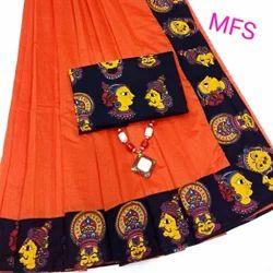 Kalamkari Border Chanderi Cotton Saree