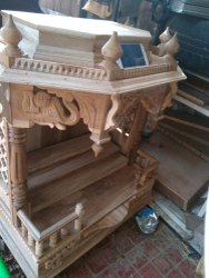 Brown Hand Carved Wooden Home Temple, For Worship