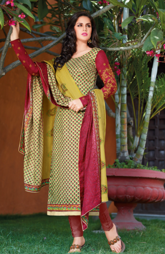 0e2a067ad94 Golden and Red Bhagalpuri Silk Unstitched Salwar Suit ...