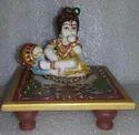 Marble Painted Krishna Chowki