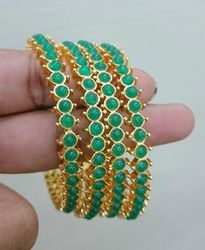 work plated size bangles stone product glass color green detail thread gold