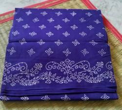 South Cotton Printed, Block Printed Sungudi Sarees without zari border 9 yards sarees, Blouse Size: 80 Cm, With blouse piece