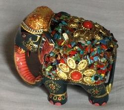 Wooden Elephant with Multi Stones