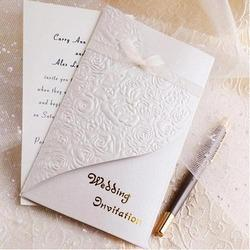 White Paper Embossed Wedding Cards Printing Services, in Delhi