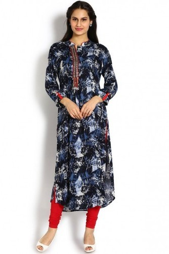 c6b1d287752 Soch Dark Blue and White Cotton Viscose Kurti Suit