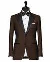 Plain Brown Tailored Tuxedo Suit