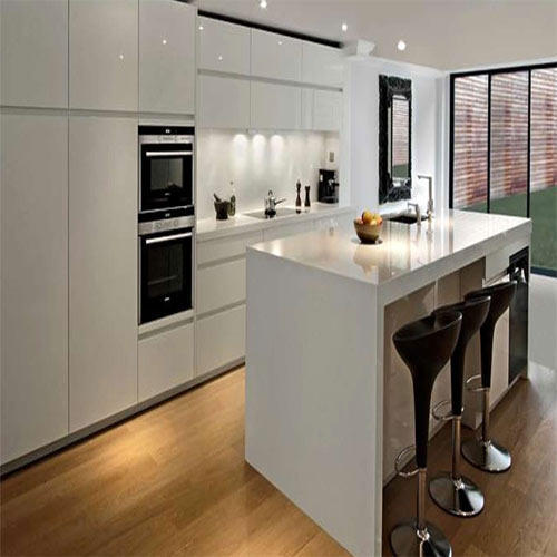 Open Kitchen Noida: High Gloss Kitchen Cabinets