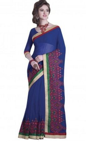3dcd4d7843db3 Blue Colored Chiffon Saree at Rs 5250