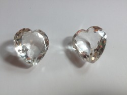 Crystal Quartz Cut-stone Heart Beads
