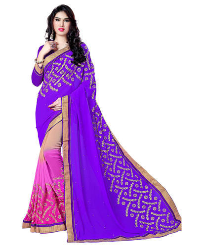 1dd53d579d15b Triveni Purple Colored Embroidered Faux Georgette Saree at Rs 1360   piece(s)