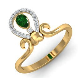 14k Green Stone Gold Diamonds Ring