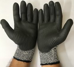 HPPE Dyneema Yarn Knitted With PU Coating Gloves