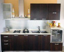 L Shape Wooden Contemporary Modular Kitchen, Warranty: 1-5 Years