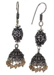 Oxidised Beaded Earring