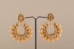 ganapathy gems gold plated kundan and pearl earing, Size: 6.5 cm length and widht 3cm