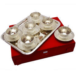 Silver Plate Tea Cup Set Of 6 Pcs