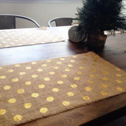 Jute Placemat With Gold Print