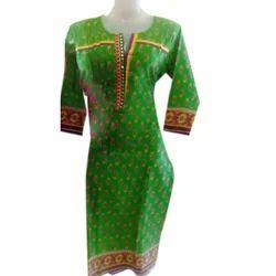 Medium Green Ladies Printed Kurti