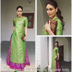 Green and Pink Printed Patiala Suit