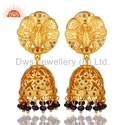 18k Gold Plated Gemstone Diamond Jhumka Earrings