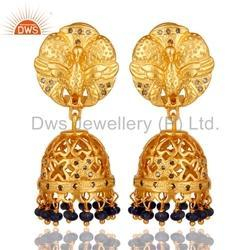 18k Gold Plated Gemstone Diamond Jhumka Earrings