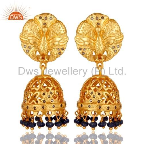 DWS Silver 18k Gold Plated Gemstone Diamond Jhumka Earrings