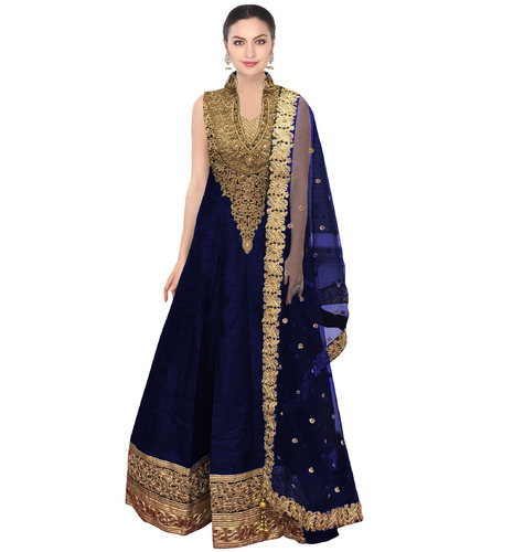 90149c1b86 Casual Fabron Navy Blue Raw Silk Long Anarkali Suit For Women, Rs ...