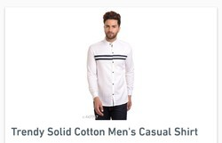 Trendy Solid Cotton Men's Casual Shirt