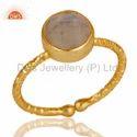 Handmade 18k Gold Plated Rainbow Moonstone Ring