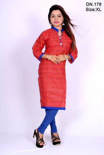Red and Blue Cotton Printed Designer Kurti