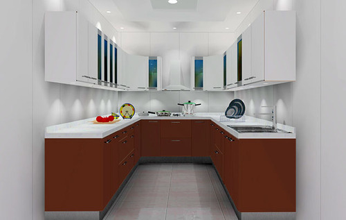 Elegant U Shaped Wooden Modular Kitchen
