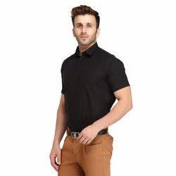 Half Sleeve Shirts - theFitSquare Black Half Sleeve Linen Shirt ...