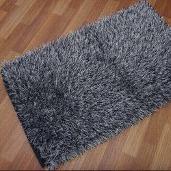 Gray Polyester Shaggy Carpet