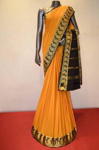 be0ca5ebf4b71d Mysore Crepe Silk - Classic Yellow Pure Mysore Crepe Silk Saree ...